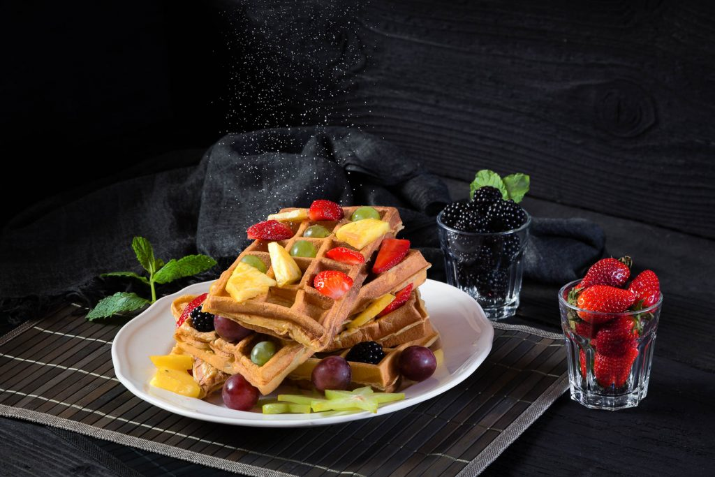 Waffles with fruit